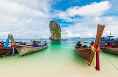 Fishing thai boats at Po-da island, Krabi ,Thailand Stock Photo