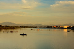 Fishing at Thu Bon river, Quang Nam, Vietnam Stock Photography