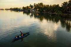 Fishing at Thu Bon river, Quang Nam, Vietnam Stock Photos