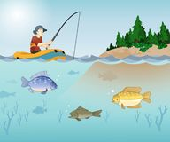 Fishing Time. With underwater view and Fisherman on the boat Royalty Free Stock Photos
