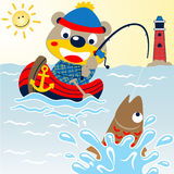 Fishing time. Bear fishing with little wooden boat, catch a big fish,  vector cartoon. EPS 10 Royalty Free Stock Image