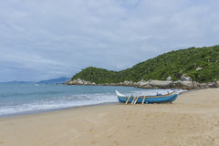 Fishing time. Fishing boat on the beach Royalty Free Stock Photography