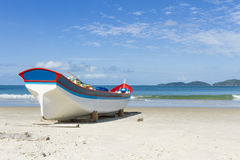Fishing time. Fishing boat facing the sea Royalty Free Stock Photography