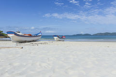 Fishing time. Fishing boat on the sand Royalty Free Stock Image