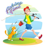 Fishing Time. Funny, funny cartoon illustration on the theme of summer fishing. A smiling guy walks on a fishing trip with a bucket and a fishing rod. A red cat Stock Photo