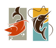 Fishing time logo template. Fish catch on rod hook vector Royalty Free Stock Images