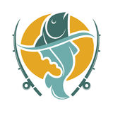 Fishing time logo template with fish and hooks. Isolated on white. Vector illustration of swimming animal in water on round yellow circle and two long tackles Stock Image