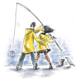 Fishing together. A couple wearing yellow raincoats are fishing together Stock Image