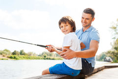 Fishing together is fun. Stock Photo