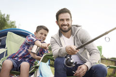 Fishing together. I think the fish is near your float Royalty Free Stock Photography