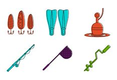 Fishing tool icon set, color outline style. Fishing tool icon set. Color outline set of fishing tool vector icons for web design isolated on white background Stock Photo