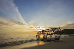 Fishing tool in thai style on beach which has view of beautiful sea and sky in morning as background. Songkhla Thailand Stock Image