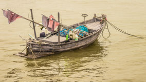 Fishing tools in boat. Fishing equipment, fishing nets Dang,plastic bottle , Nets, buoys Stock Photography