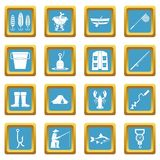 Fishing tools icons azure. Fire fighting icons set in azur color isolated vector illustration for web and any design Royalty Free Stock Photography