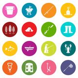 Fishing tools icons many colors set. Fire fighting icons many colors set isolated on white for digital marketing Stock Photo