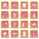 Fishing tools icons pink. Fire fighting icons set in pink color isolated vector illustration for web and any design Stock Images