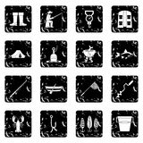 Fishing tools icons set Stock Photos