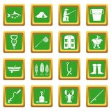Fishing tools icons set green. Fire fighting icons set in green color isolated vector illustration for web and any design Royalty Free Stock Image