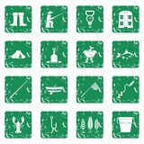 Fishing tools icons set grunge. Fire fighting icons set in grunge style green isolated vector illustration Royalty Free Stock Photography