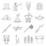 Fishing tools icons set, outline style Royalty Free Stock Images
