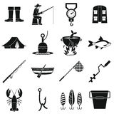 Fishing tools icons set, simple style. Fire fighting icons set. Simple illustration of 16 fire fighting vector icons for web Stock Images