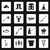 Fishing tools icons set squares vector Royalty Free Stock Images