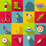 Fishing tools items icons set, flat style. Fishing tools items set. Flat illustration of 16 fishing tools items vector icons for web Royalty Free Stock Image
