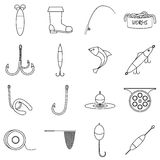 Fishing tools items icons set, outline style Stock Photos