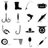 Fishing tools items icons set, simple style. Fishing tools items set. Simple illustration of 16 fishing tools items vector icons for web Stock Photography