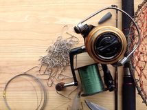 Fishing tackle background Royalty Free Stock Photos