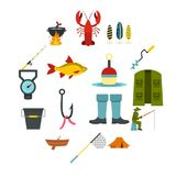 Fishing tools set flat icons. Fire fighting set icons in flat style isolated on white background Royalty Free Stock Images