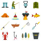Fishing tools set flat icons. Fire fighting set icons in flat style isolated on white background Stock Photos