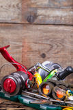Fishing and tourism gear on timber board Royalty Free Stock Image