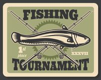 Fishing tournament fish and rods vector poster. Fishing tournament poster for professional fisherman hobby or sport. Vector retro vintage design of crossed stock illustration