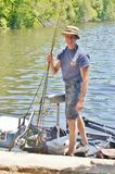 Fishing tournament   happy angler Stock Images