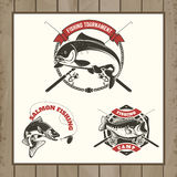 Fishing tournament labels. Carp fishing, salmon fishing, perch f Royalty Free Stock Photography
