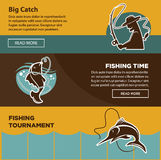 Fishing tournament time for big catch colorful poster Stock Images