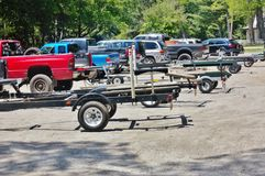 Fishing tournament  trailers for boats of anglers. The best fishermans  of New York area recently had great emotions during summer tournament on one of the lakes Stock Images