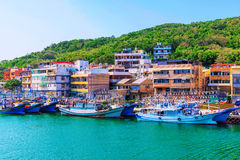 Fishing town in Taiwan. With boats on a sunny day Royalty Free Stock Photo