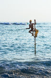 Fishing in traditional way near Galle in Sri Lanka Royalty Free Stock Photography