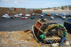 Fishing trap and anchored fishing botes Royalty Free Stock Photography