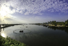 Hoi-an lakes,vietnam 6. A fishing trap on The lakes and inland waterways of hoi-an in vietnam stock photography
