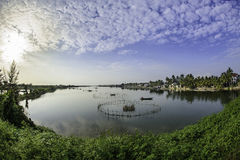 Hoi-an lakes,vietnam 7. A fishing trap on The lakes and inland waterways of hoi-an in vietnam Stock Photos