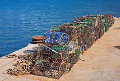 Fishing traps. In a fishing wharf Stock Images