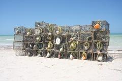 Fishing Traps. On the beach at Sisal, Yucatan, Mexico Royalty Free Stock Photos