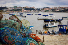 Fishing traps and anchored boats in Porto Stock Image