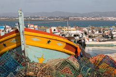 Fishing traps in culatra. Stack of several colorful fishing traps on the culatra island Stock Photos