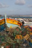 Fishing traps in culatra. Stack of several colorful fishing traps on the culatra island Stock Images