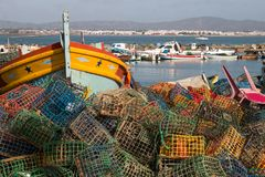 Fishing traps in culatra Royalty Free Stock Photography