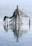 Fishing traps in Italian Lago di Varano Stock Photo